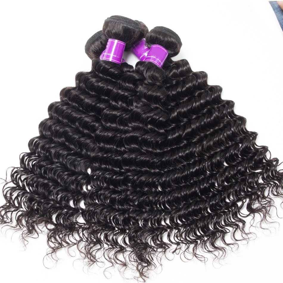 4 PCS Deep Wave Unprocessed Human Hair Extension Bundles