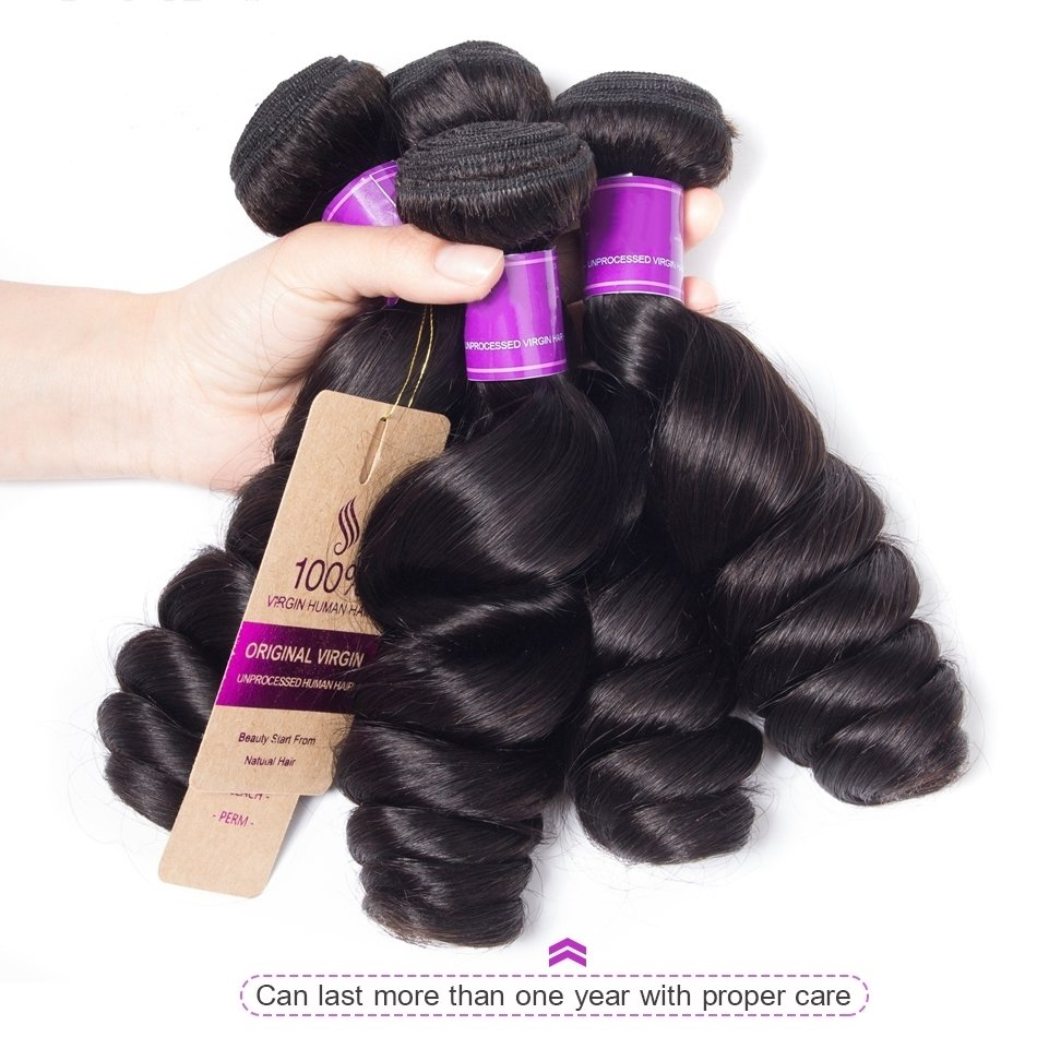 4 PCS  Loose Wave Unprocessed Human Hair Extension Bundles