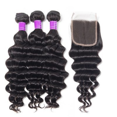 4 PCS/LOT Bundles Loose Deep Wave Unprocessed Human Hair Extension with Lace Closure