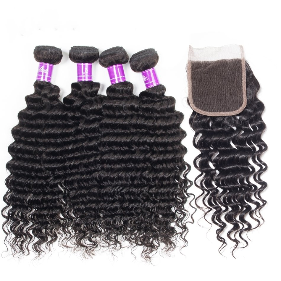 5 PCS/LOT Deep Wave Unprocessed Human Hair Extension with Lace Closure
