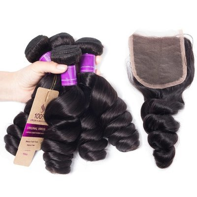 5 PCS/LOT Loose Wave Unprocessed Human Hair Weaves with Lace Closure