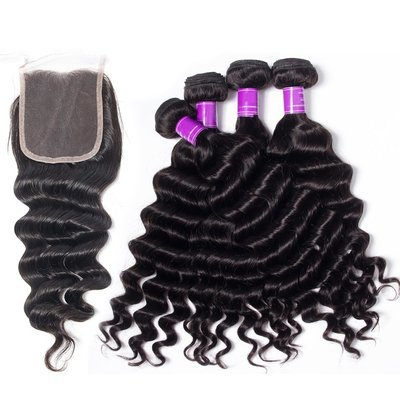 5 PCS/LOT Loose Deep Wave Unprocessed Human Hair Weaves with Lace Closure