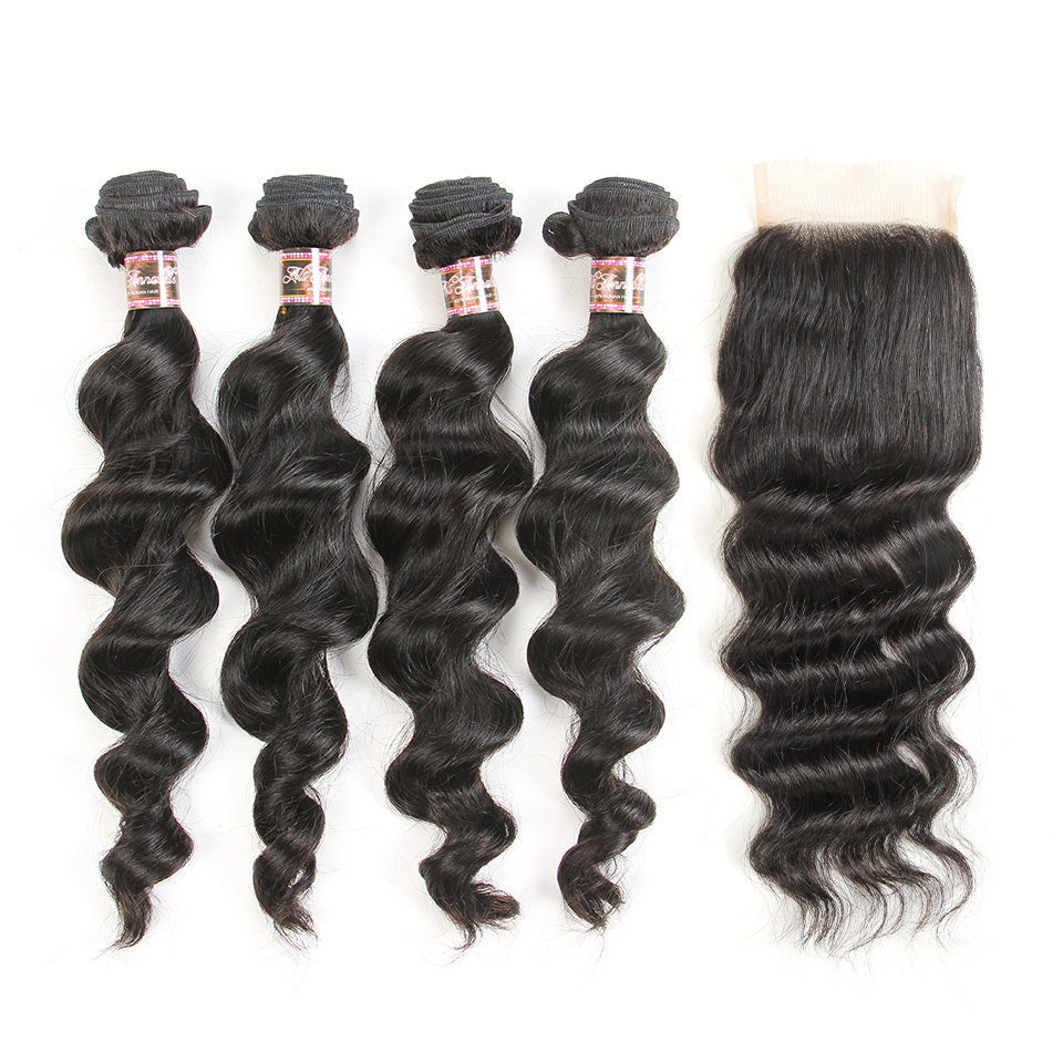 5 PCS/LOT Loose Body Wave Unprocessed Human Hair Weaves with Lace Closure