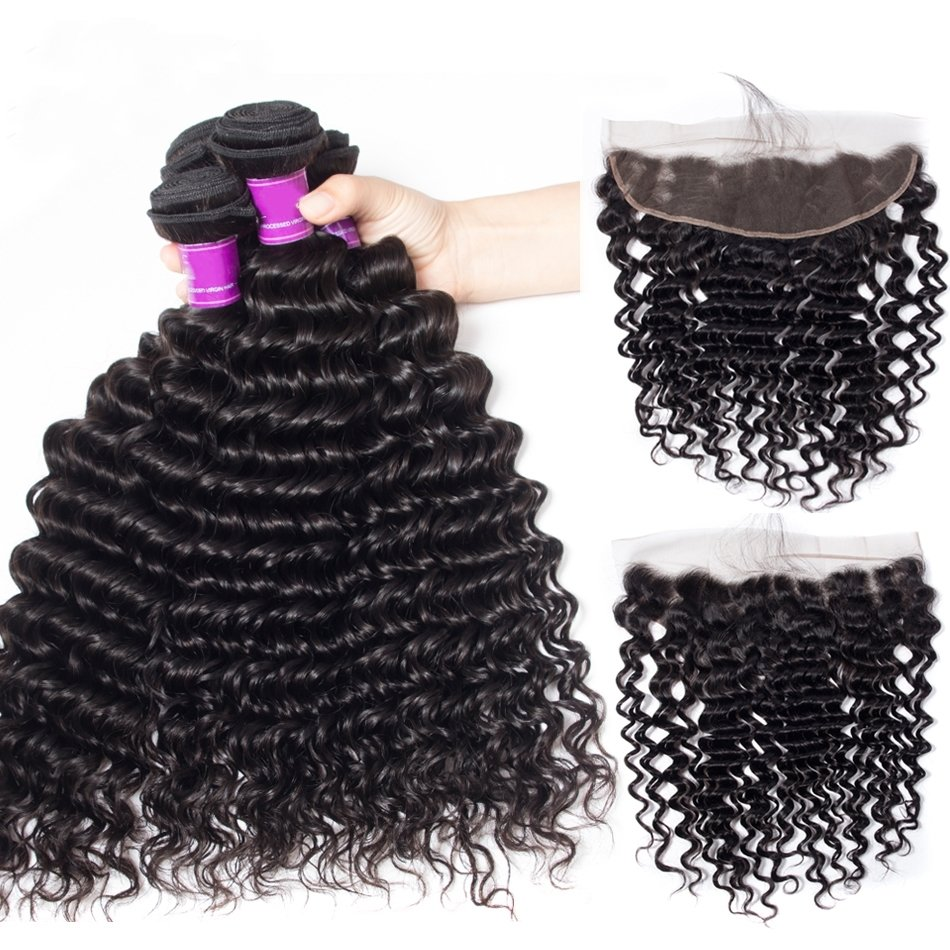 5PCS/LOT Virgin Hair Deep Wave with lace Frontal Ear to Ear Lace Frontal 13x4 Frontal With Bundles Deals