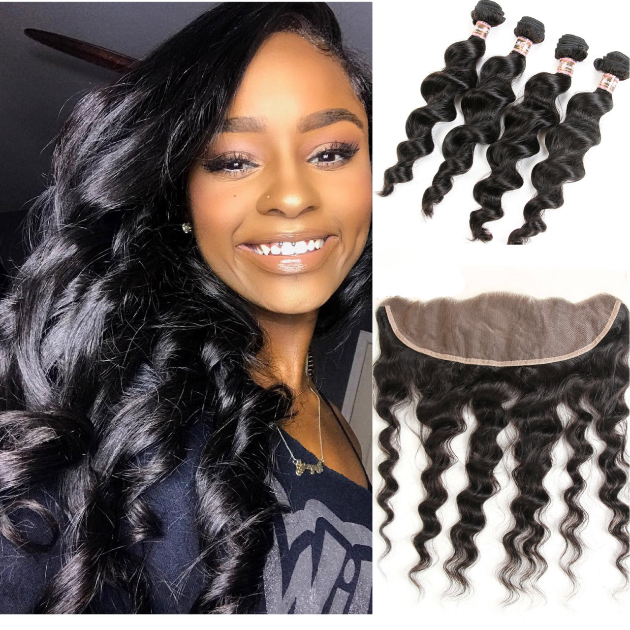 5PCS/LOT Virgin Hair Loose Body Wave with lace Frontal Ear to Ear Lace Frontal 13x4 Frontal With Bundles Deals