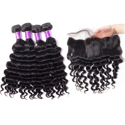 5PCS/LOT Virgin Hair Loose Deep Wave with lace Frontal Ear to Ear Lace Frontal 13x4 Frontal With Bundles Deals