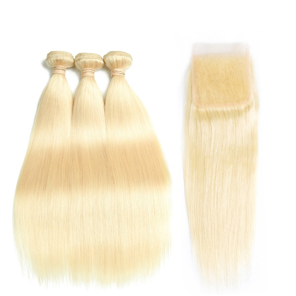 4 PCS/LOT Straight Hair bundles with Lace Closure Caucasian Blonde Human Hair Can be dyed into Light color