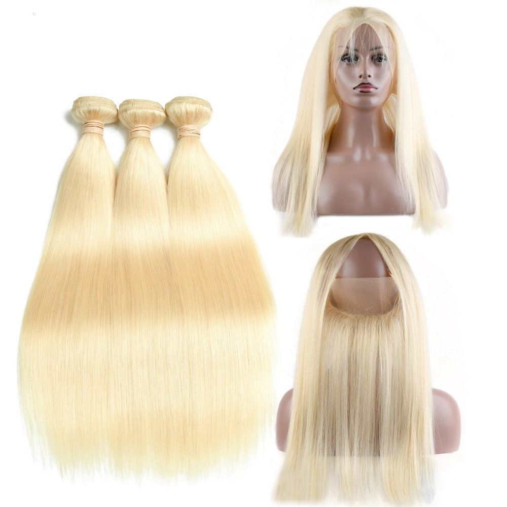 360 Frontal with 3 Bundles Straight Caucasian Hair can be dyed into light color