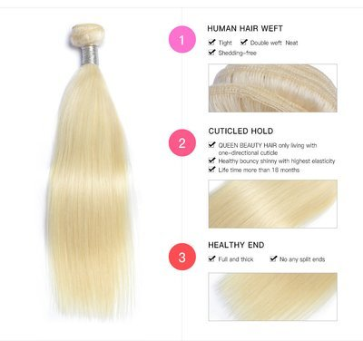 1PC  Straight Caucasian Blonde Human Hair Bundle can be dyed into light color