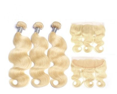 4 PCS/LOT Body Wave Caucasian Hair with Frontal 13*4 can be dyed into light color