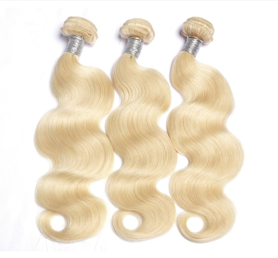 3PCS Body Wave Caucasian Blonde Human Hair Bundles can be dyed into light color