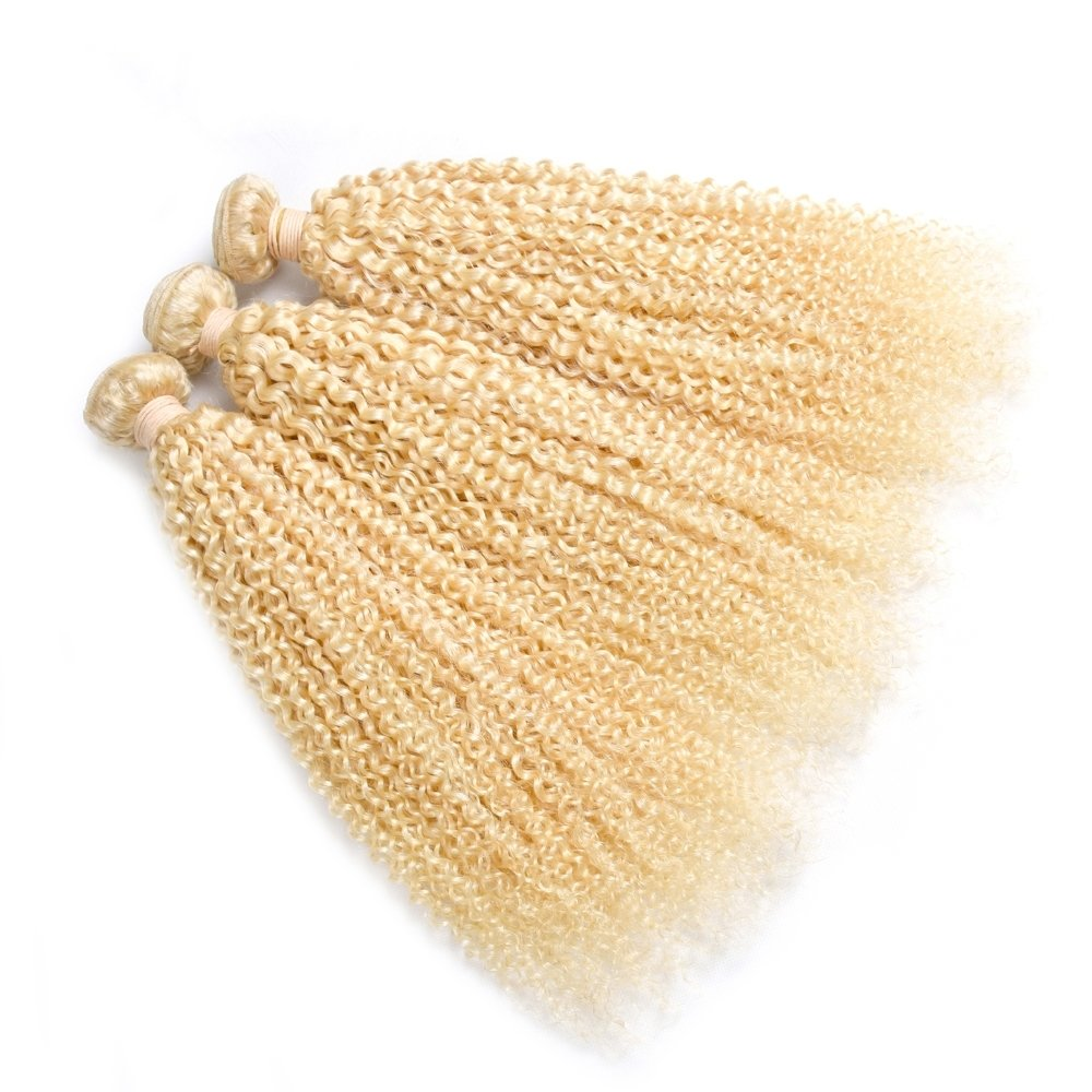 3PCS Curly Caucasian Blonde Human Hair Bundles can be dyed into light color