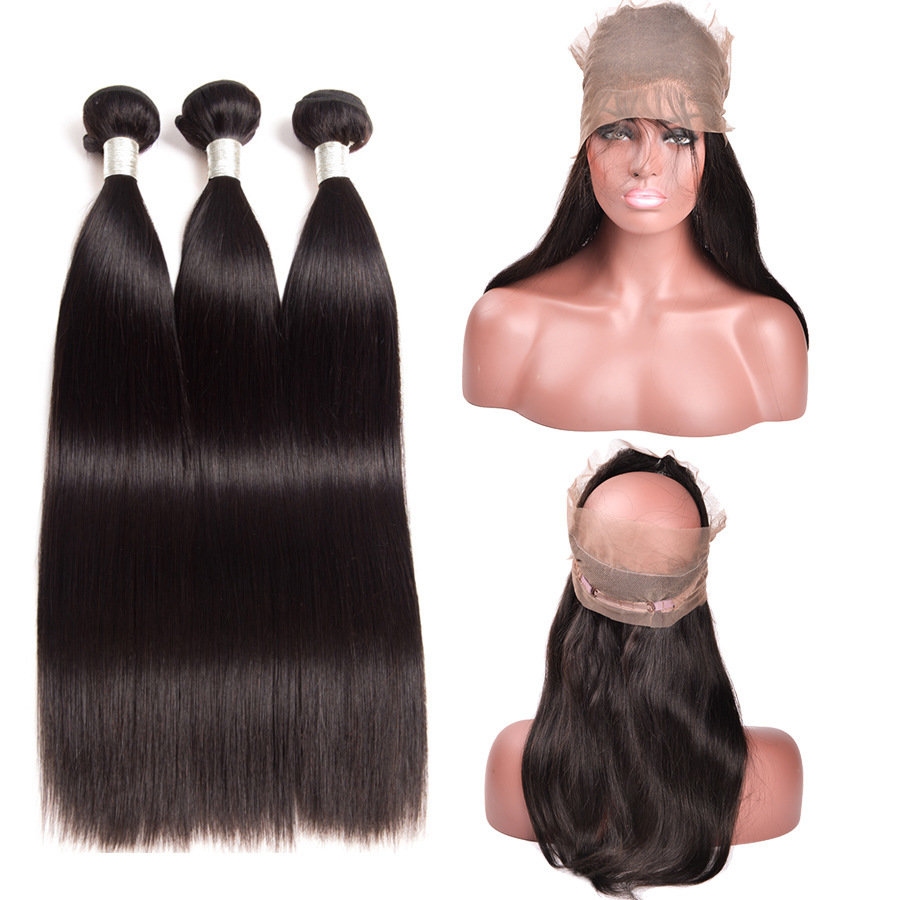 4 PCS/LOT Straight 360 Lace Frontal Closure With 3 Bundles Virgin Human Hair Weaves