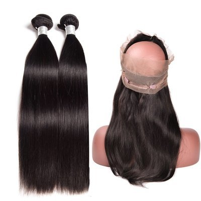 3 PCS/LOT Straight 360 Lace Frontal Closure With 2 Bundles Virgin Human Hair Weaves