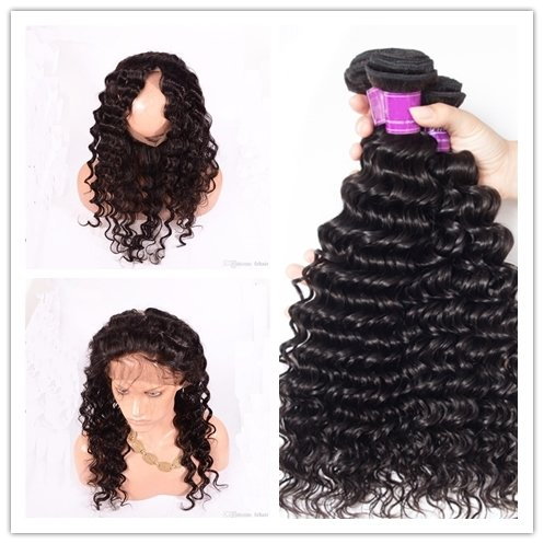 4 PCS/LOT Deep Wave 360 Lace Frontal Closure With 3 Bundles Virgin Human Hair Weaves