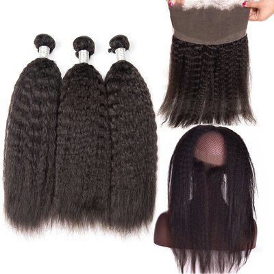 4 PCS/LOT afro Kinky Straight 360 Lace Frontal Closure With 3 Bundles Virgin Human Hair Weaves