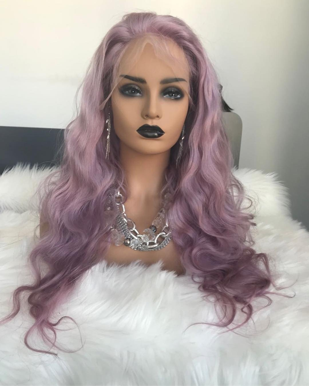 Body Wave Light Purple Pre Plucked Full Lace Frontal Wig Human Hair With Baby Hair