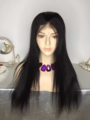 Straight Full Lace Frontal Wig Virgin Human Hair With Baby Hair Can be dyed