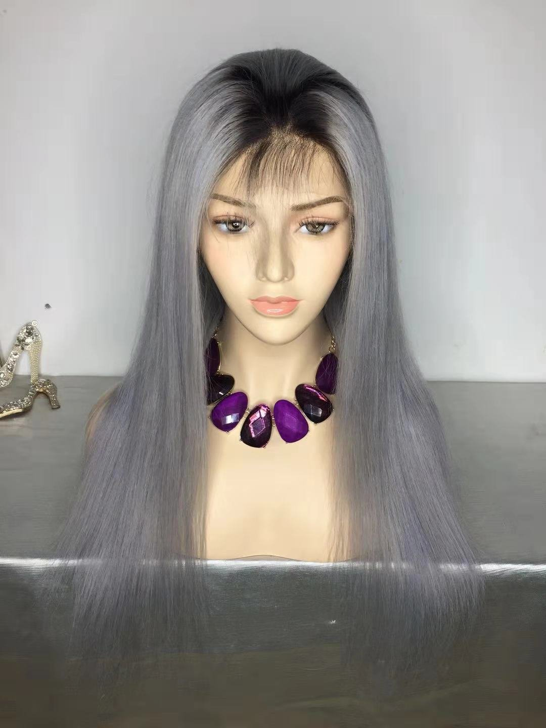 Grey Color with Dark Roots Pre Plucked Full Lace Frontal Wig Human Hair With Baby Hair
