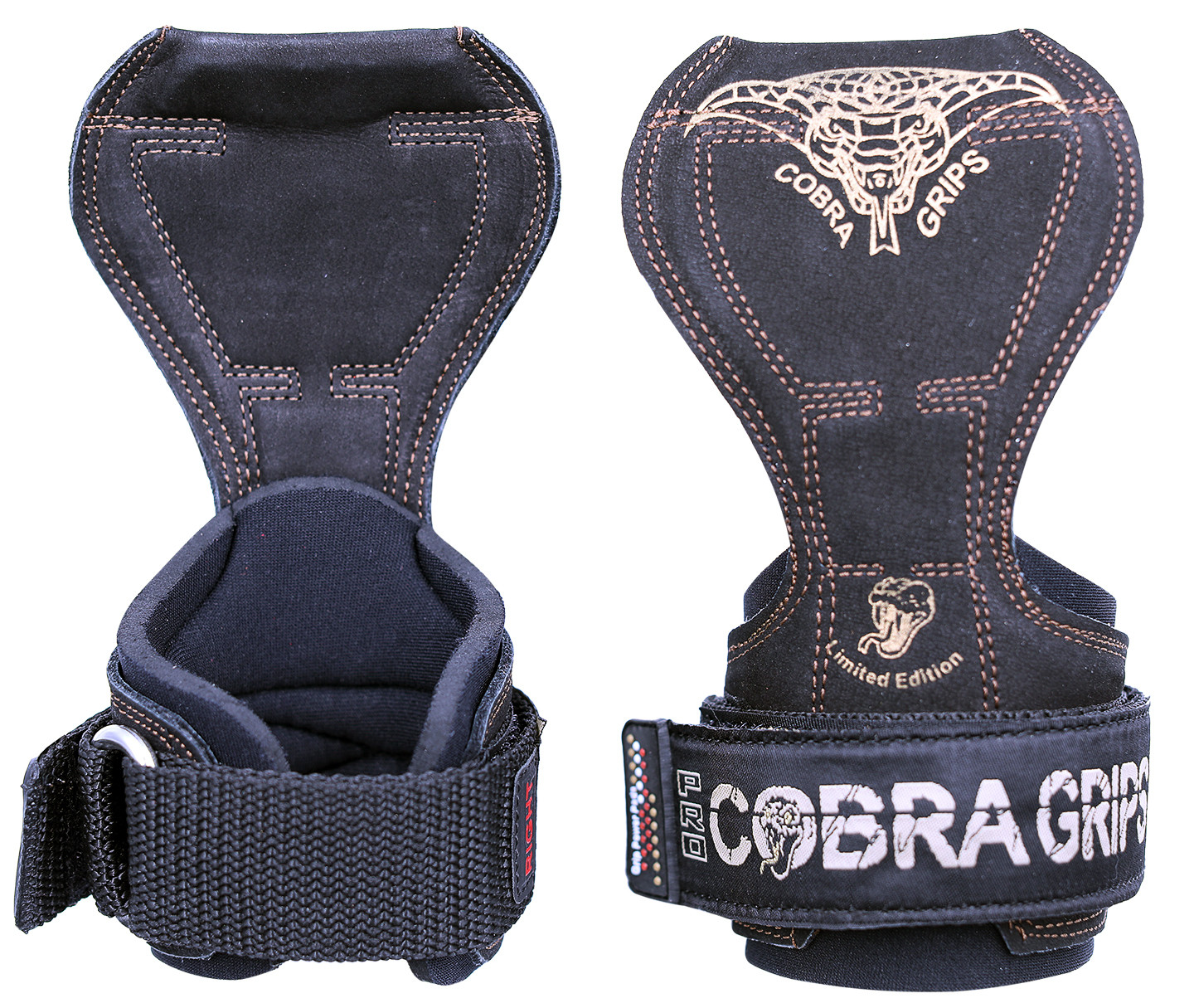 Cobra Grips PRO BLACK LEATHER Weight Lifting Straps Hooks Alternative, Power Lifting
