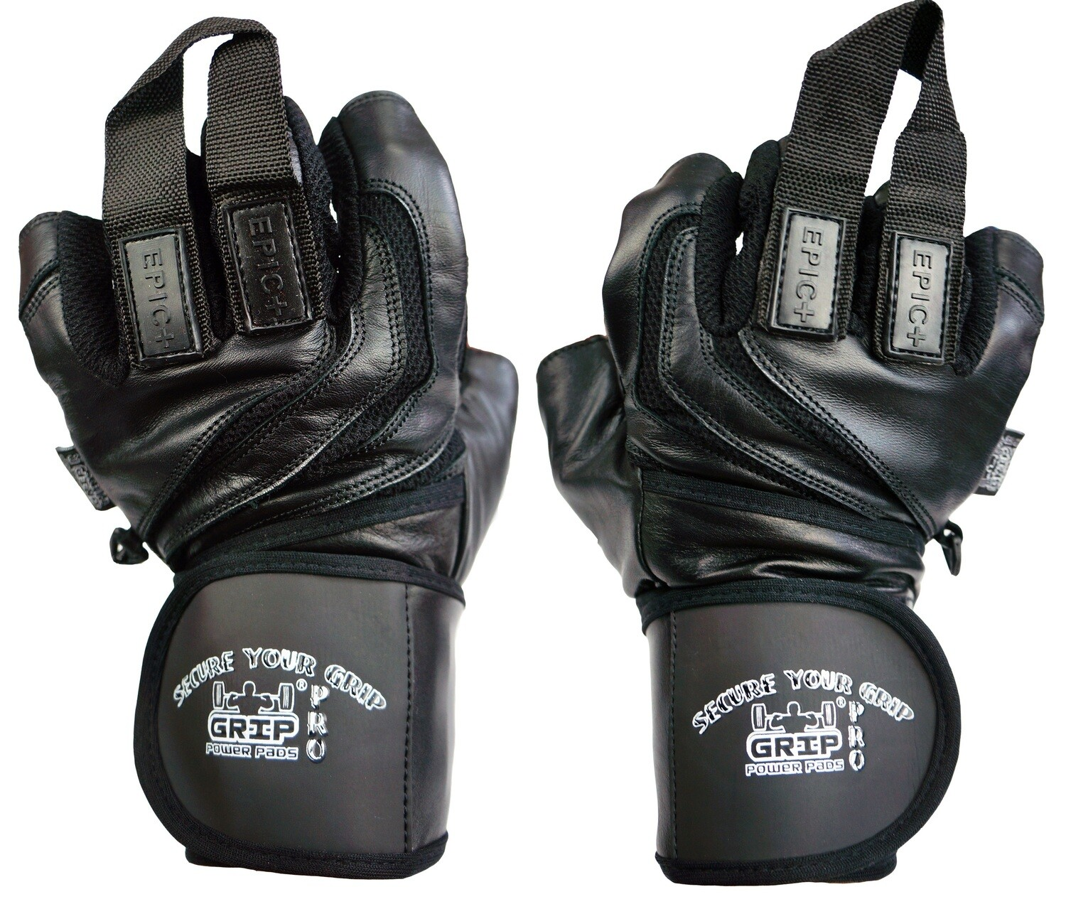 """Epic Leather Gym Gloves with Built in 2"""" Wide Wrist Wraps Best Grip & Design for Weightlifting Power Lifting Bodybuilding & Strength Training Workout Exercises"""