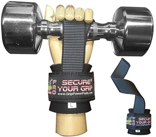 Best Heavy Duty Lifting Straps Neoprene Padded 1 Pair Wrist Wraps & Rubbery Grip Support Straps with Cotton Coated Rubber on One Side