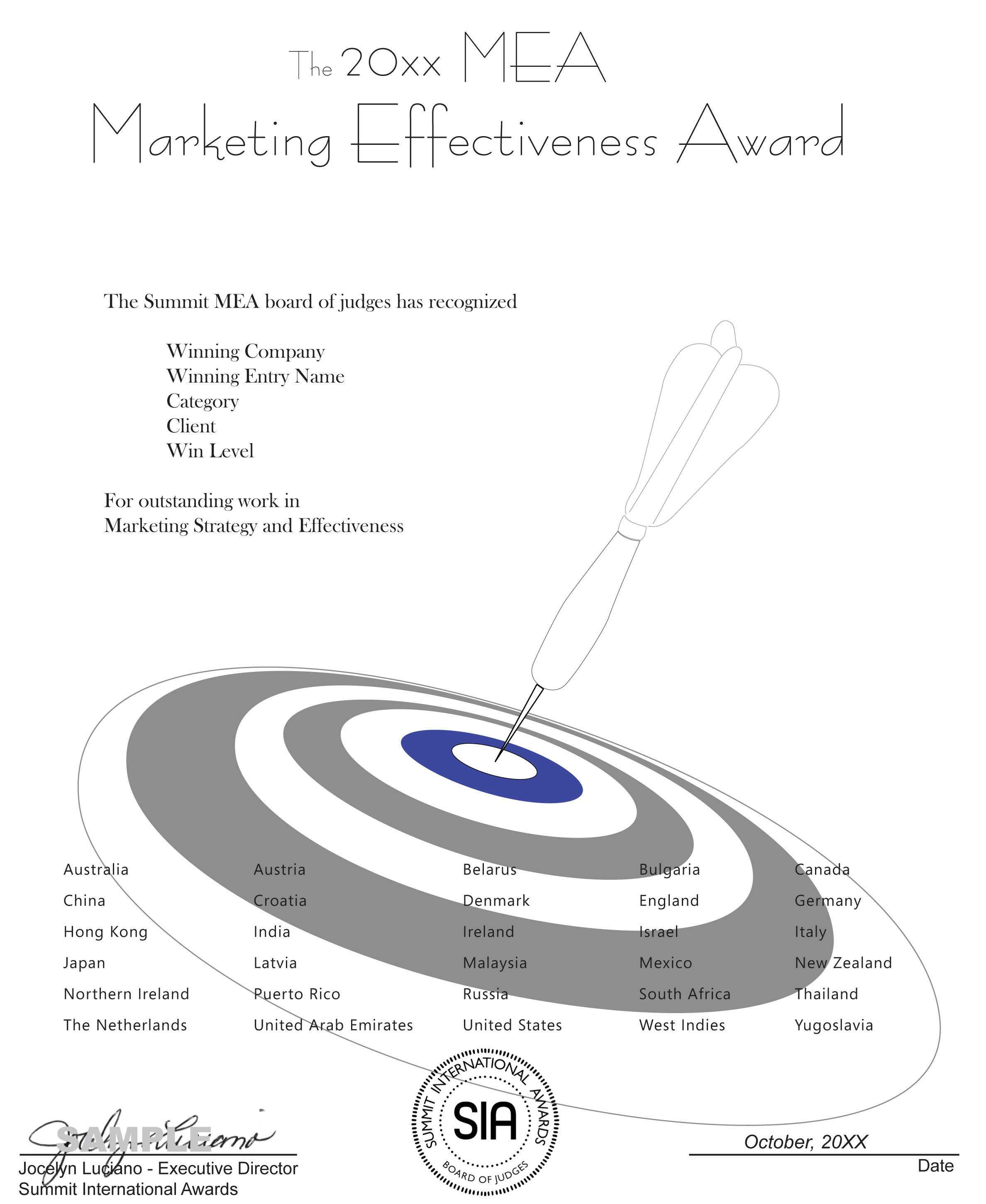 Marketing Effectiveness Award Certificate Summit MEA-CC