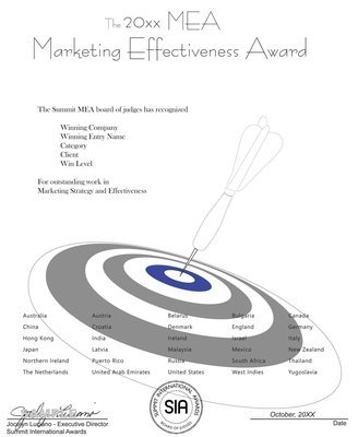 Marketing Effectiveness Award Certificate