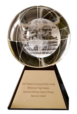 Emerging Media Award Crystal Globe Trophy