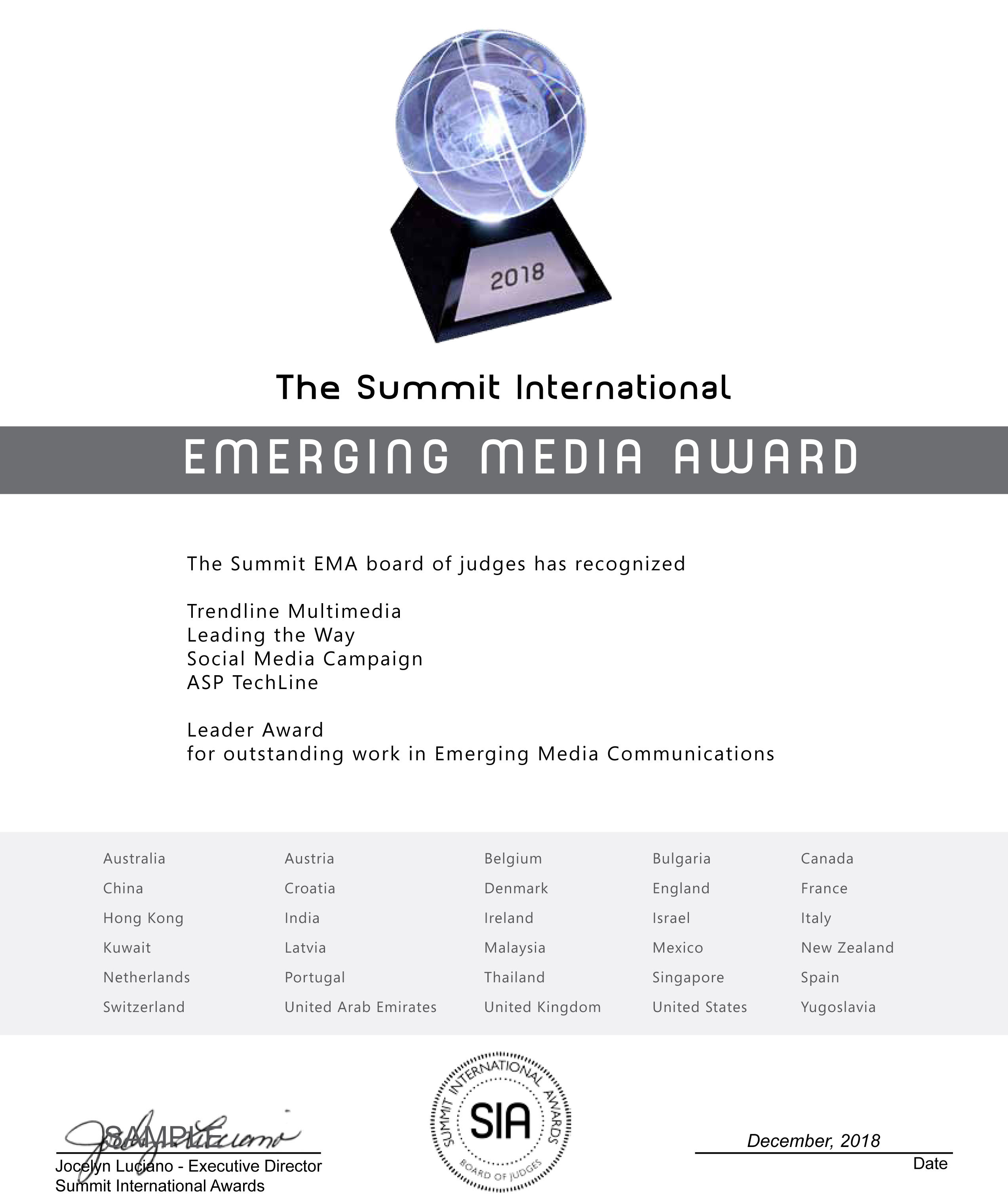 Emerging Media Award Certificate Summit EMA-CC