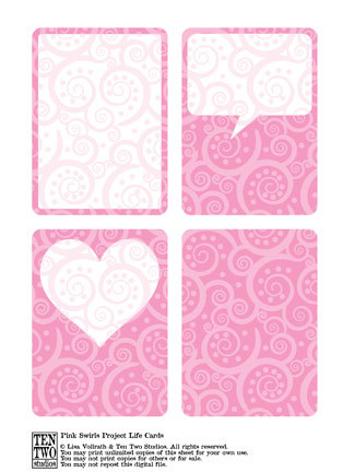 Pink Swirl Journaling Cards