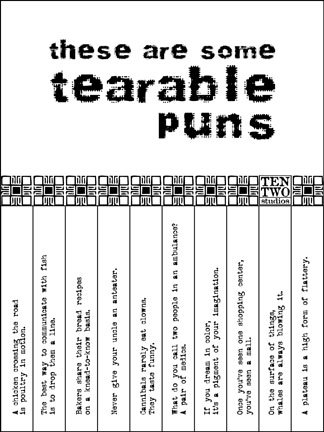 Black & White Tearable Pun Sign