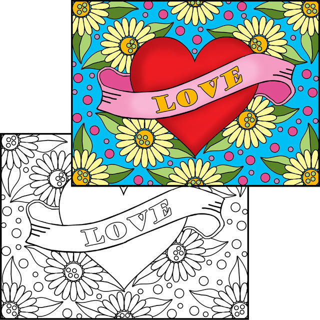 Hearts Collage & Color Set
