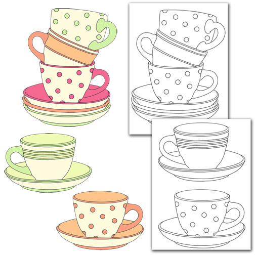 Cups Collage & Color Set
