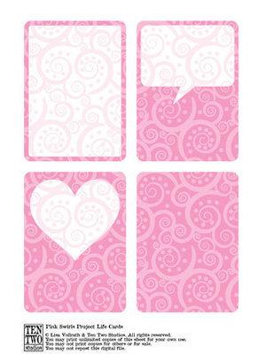 Pink Swirl Journaling Cards