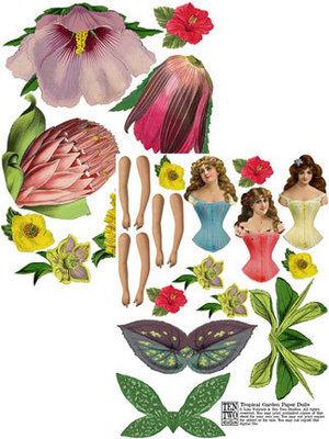 Tropical Garden Paper Dolls