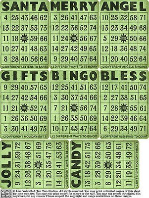 Green Christmas Bingo Cards