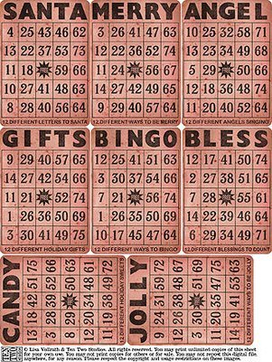 Red Christmas Bingo Cards