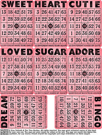 Sweet Pink Bingo Cards