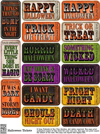 Halloween Saying Tickets