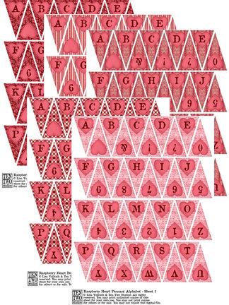 Raspberry Heart Pennant Alphabet