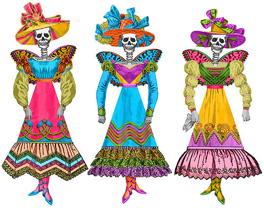 Fiesta Skellie Paper Dolls