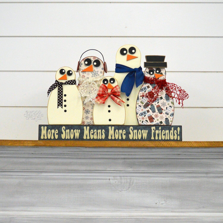 Snowman Friends on Blocks