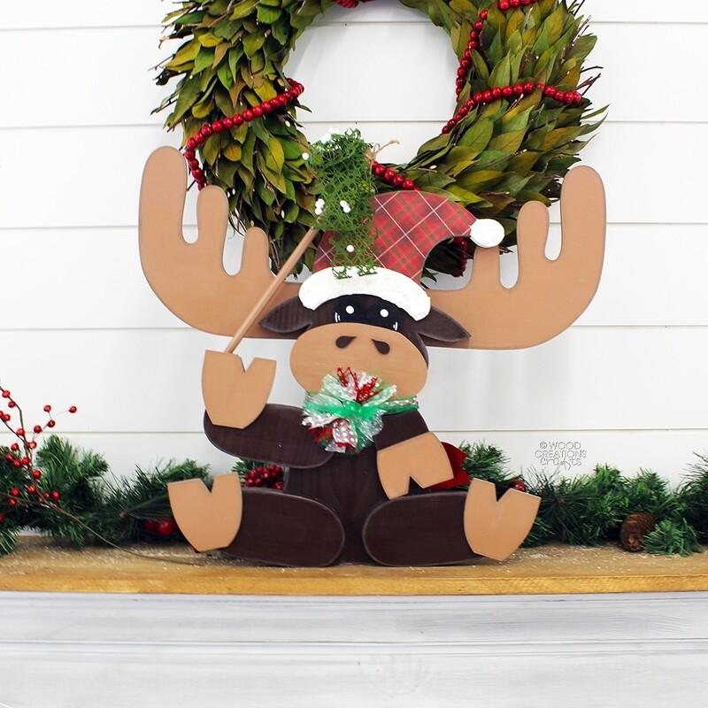 Large Sitting Christmas Moose 2018