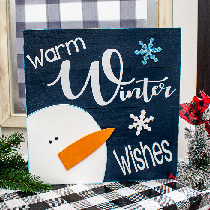 Warm Wishes Snowman Sign