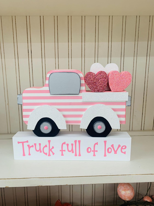 Valentines Truck With Block, Vinyl & Hearts.