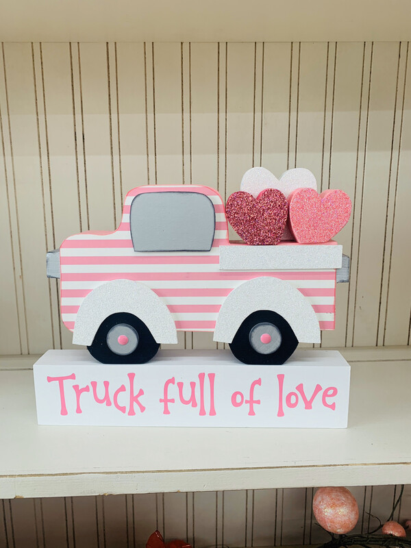 Valentines Truck With Block, Vinyl & Hearts.