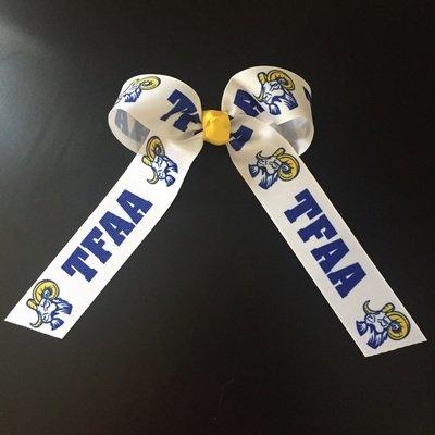 Tails down, TFAA & Ram mascot ribbons