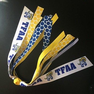Ponytail streamer, TFAA & Ram mascot ribbons