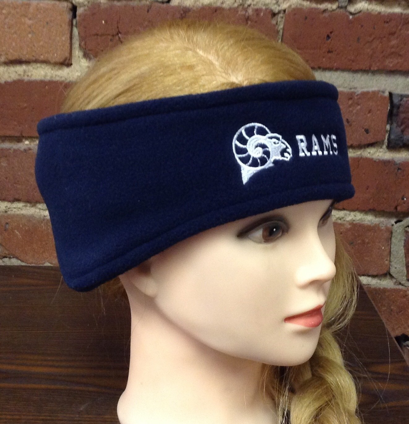 Headband with ear warmers, navy blue